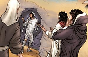 Lazare sort du tombeau. Jésus dit :